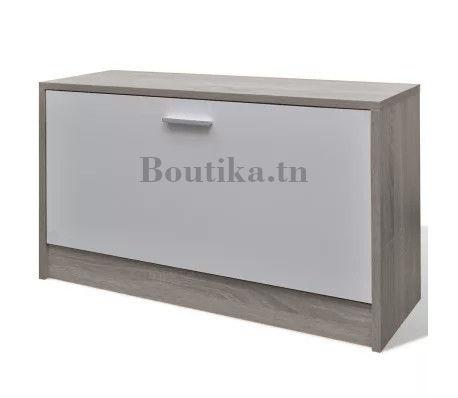 Banc Porte Chaussures Blanc Et Gris Boutika Meuble Discount Tunisie